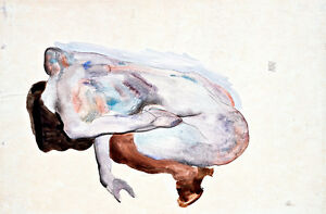 Crouching Nude in Shoes and Black Stockings by Egon Schiele A1 Art Print