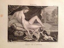 VENERE E L'AMORE Incisione originale XIX secolo  MITOLOGIA DEA ROMANA BELLEZZA