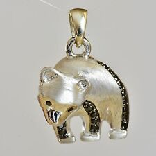 9K GOLD PANDA PENDANT GENUINE BLACK DIAMONDS 9K 375 WHITE GOLD WWF SYMBOL NEW