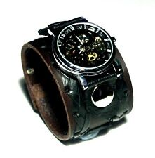 Brown Leather Watch Wrist band Bracelet Steampunk GOTHIC-Mechanical