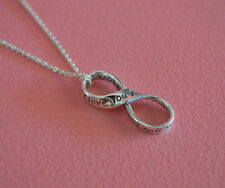 925 Sterling Silver Message I Love You Forever Infinity Knot Pendant Necklace
