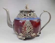 OLD Chinese red jade handwork  inlay tibet-silver dragon teapot Arts and Crafts