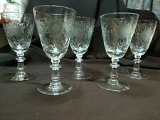 Vintage Engraved Glasses, Conical Feet, Bladed Knops