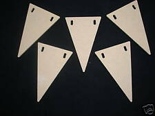 10 WOODEN MDF BUNTING FLAGS BLANKS