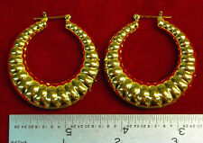 "MADE IN USA - Gold Plated Shrimp ~1-5/8"" Hoop Earrings (#1116)"