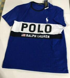 Ralph Lauren Polo Men's SZ 2XL USA Flag T-Shirt Blue Color Block Spell Out