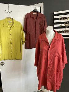 Tommy Bahama Size L Coconut Button Up Hawaiian Shirt 100% Silk Lime  & Red Lot 3
