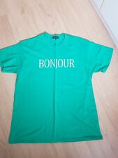ladies green bonjour slogan New Look t shirt. size large