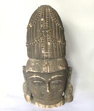 Serene Vishnu Bust Stone Sculpture, Beautiful  Temple Carving India