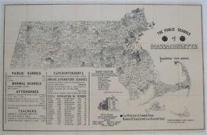 Original 1892 Bartlett Map PUBLIC SCHOOLS OF MASSACHUSETTS Statistics Officers
