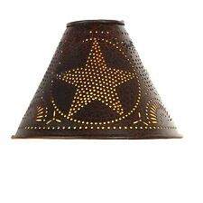 Primitive Vintage Shabby Country Small Punched Star Crackle Finish Lamp Shade
