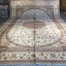 Yilong 12'x18' Large Handmade Persian Silk Carpets Huge Hand Knotted Rugs W294C