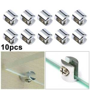 10X Chrome Plated 6-8mm Glass Shelf Bracket Clamps Support Bathroom Glass Clips