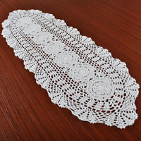 "White Vintage Lace Table Runner Dresser Scarf Hand Crochet Doily Floral 11""x35"""