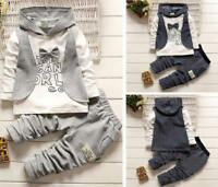Kids Baby Boy Winter Formal Shirt Waistcoat Tops+Pants Hooded Clothes Outfit Set