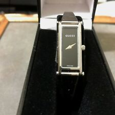 *GUCCI* 1500-L BLACK DIAL STAINLESS-STEEL BANGLE LDS SWISS WATCH *MINT*!!