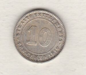 1919 STRAITS SETTLEMENTS GEORGE V SILVER 10 CENTS IN EXTREMELY FINE CONDITION