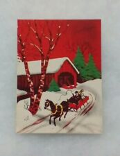 """Vintage Christmas Card - """"Greetings"""" - Covered-Bridge - Horse-Drawn Carriage"""