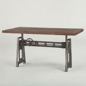 "59"" L Industrial Office desk with weathered top hand crank adjustable height."