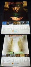 LORD OF THE RINGS  POSTER X2  ORIGINAL STUDIO ISSUED 2002 CALENDARS DOUBLE SIDED