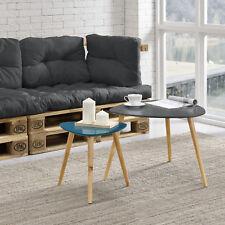 [en.casa] Couchtisch 2er Set Beistelltisch Beistell Tisch Wohnzimmer grau türkis