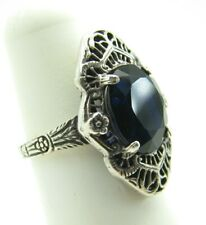 STERLING SILVER Victorian Style ELONGATED FILIGREE COCKTAIL RING Blue Sapphire 6