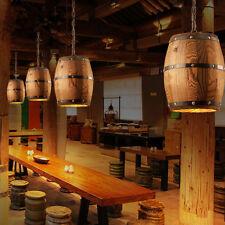 Industrial Wood Wine Barrel Hanging Fixture Bar Cafe Light Ceiling Pendant Lamp