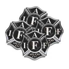 "IAFF Sticker Decals (4 pack) Firefighter Int'l Maltese Cross 2"" wide Black White"