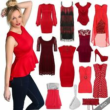 Women Sexy Red Dress Blouse Lace Chiffon Bodycon Top Evening Shoes Prom Carnival
