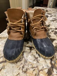 Sporto Women's Brown Navy Duck Boots Lace Up Size 8 Rain Lined Outdoor vintage