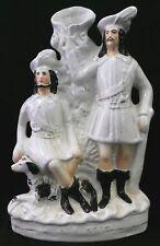 Antique STAFFORDSHIRE ROBIN HOOD SPILL VASE Figurine w/Black + White Dog. 1850