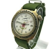 VOSTOK Komandirskie Anchor Plane Vintage Star Military Russian Watch Date 3ATM