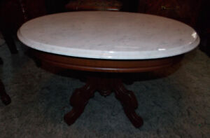 Solid Walnut Carved Victorian Marble Top Coffee Table  (CT29)