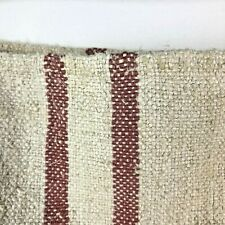 Vintage GRAIN SACK RED hemp linen fabric striped bag old nubby Twill Weave