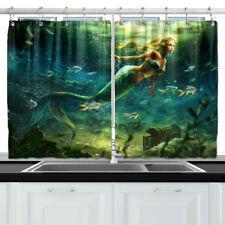 Mermaid and Treasure Chest Kitchen Curtains 2 Panel Set Decor Window Drapes
