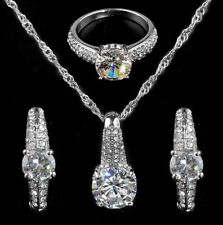 WHITE GOLD PLATED NECKLACE EARRINGS RING JEWELLERY SET WOMAN WEDDING GIFT