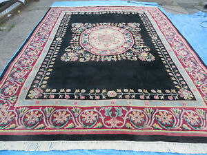 9' X 12' Decorative CHINESE Aubusson  Hand Knotted Pile Wool Rug Black Nice