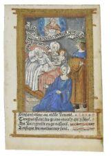 Livre imprimé d'heures feuille avec lumineux Miniature C1500 La naissance du Christ