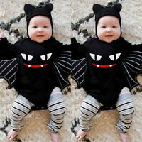 Newborn Baby Boys Girls Halloween Cosplay Costume Romper Bodysuit+Hat Outfit Set