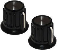 2 boutons de potentiomètre pour axe lisse 6.35mm Ø20x17mm. Couleur: noir/argent