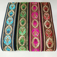 7Yds 3.3cm Retro Floral Embroidered Jacquard Ribbon Fringe Braid Trimming Craft