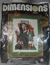"""Dimensions Crewel Kit Norman Rockwell """"Doctor and the Doll"""" Complete 12 x 16"""