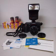 Nice MINOLTA MAXXUM 5000 AF Auto Focus 35mm SLR Camera lens flash and more