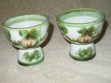 2 Vintage John Taylor Egg Cups Harvest Pear Fruit Louisville Pottery Signed RARE