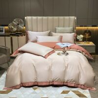 Champagne Egyptian Cotton Embroidery Bedding Set Duvet Cover Flat/Fitted Sheet