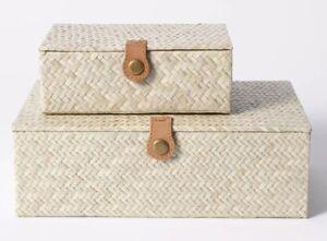 Studio McGee Decorative set Small/Large Pandan Zigzag Woven Box Threshold Target