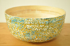 Handmade Decorative Bamboo Bowl Lacquer Inlaid With Eggshell Blue-Gold H003S