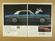 1964 Ford Mustang blue Hardtop & red Convertible photos vintage print Ad