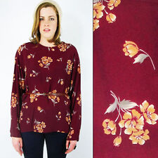 Vintage 80s 90s Boho Burgundy Fall Floral Print Oversize Shirt Blouse Top 16 XL