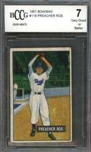 Preacher Roe Card 1951 Bowman #118 Brooklyn Dodgers (Vg Or Better) BGS BCCG 7